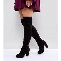 New Look Wide Fit Heeled Suedette Over The Knee Boot - Black, kolor czarny