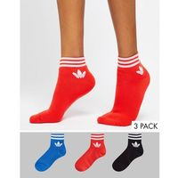adidas Originals Liner Sock 3 Pack In Red Blue And Black - Multi