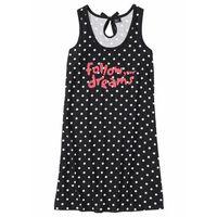 Koszula nocna bonprix czarno-biały w kropki, kolor czarny