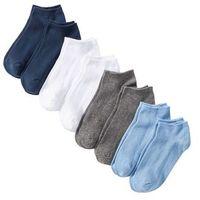 Krótkie skarpetki (8 par) biały + ciemnoniebieski + szary melanż + niebieski lodowy marki Bonprix