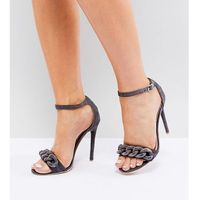 Lost Ink Wide Fit Light Grey Chain Detail Heeled Sandals - Grey
