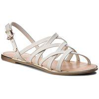 Sandały TOMMY HILFIGER - Leather Strappy Flat Sandal FW0FW02228 Whisper White 121, 1 rozmiar