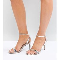 ASOS HALF TIME Wide Fit Barely There Heeled Sandals - Silver, kolor szary
