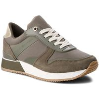 Tommy hilfiger Sneakersy - mixed material lifestyle sneaker fw0fw03011 dusty olive 011