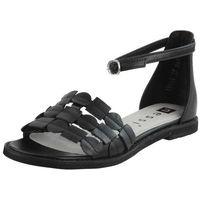 Sandały letnie czarne płaska podeszwa licowa marki Nessi