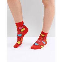 design colour pop heart ankle socks - red, Asos