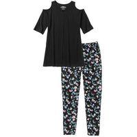 Piżama ze spodniami 3/4 czarno-pudrowy jasnoróżowy z nadrukiem, Bonprix, S-XXXL