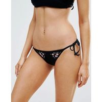 floral embroidered tie side bikini bottom - black, New look