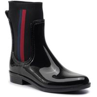 Kalosze TOMMY HILFIGER - Knitted Rain Boot FW0FW04125 Black 990