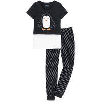 Piżama, bawełna organiczna bonprix czarno-biel wełny wzorzysty, bawełna