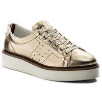 Sneakersy TOMMY HILFIGER - Metallic Hybrid Leather Sneaker FW0FW02501 Mekong 709, kolor żółty