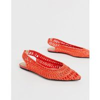 lively slingback ballet flats in orange - orange, Asos design