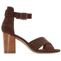 Skórzane sandały ze skrzyżowanymi paskami marki La redoute collections