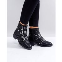 black studded buckle flat ankle boots - black, Glamorous
