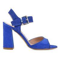 Sandały damskie na słupku niebieskie PARIS HILTON - 90-12, kolor niebieski
