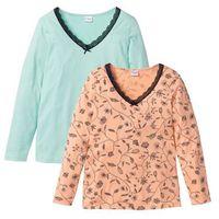 Shirt z długim rękawem (2 szt.), bawełna organiczna pastelowy miętowy + brzoskwiniowy z nadrukiem, Bonprix