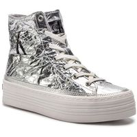 Sneakersy CALVIN KLEIN JEANS - Zabrina Metallic Crinkle RE9849 Silver
