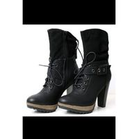 4021-2 buty/kozaki zawiązywane - czarny marki Sinly shoes