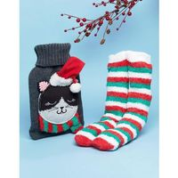 christmas cat hot water bottle and socks set - grey marki Asos