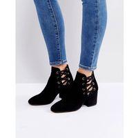 kris suede cut out ankle boots - black, Hudson