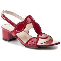 Sandały - 3576 czerwony welur/czerwony lakier, Sagan, 36-39