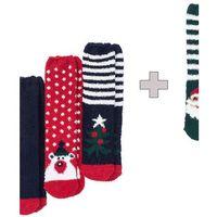 Miękkie skarpety bożonarodzeniowe 3 + 1 (4 pary) bonprix ciemnoniebiesko-czerwono-zielony wzorzysty, poliester