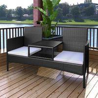 dwuosobowa ławka ze stolikiem kawowym z polirattanu, czarna marki Vidaxl