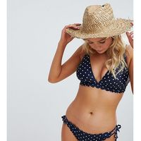 Peek & Beau Fuller Bust Exclusive bikini top with scallop edge in navy DD - G Cup in polka dot - Navy, kolor niebieski