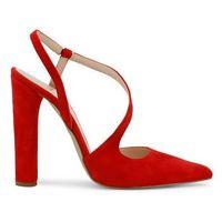 Czerwone sandałki na słupku damskie MADE IN ITALIA - DIAMANTE-CAM-66, DIAMANTE_ROSSO-40