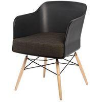 D2 Krzesło viva czarny/brązowa poduszka