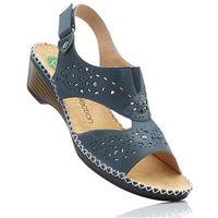 Wygodne sandały skórzane bonprix ciemnoniebieski, kolor niebieski