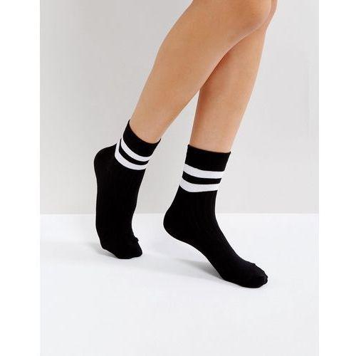 ASOS DESIGN stripe ribbed ankle socks - Black, kolor czarny