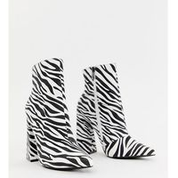 heeled ankle boots in zebra - multi, Boohoo