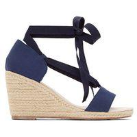 Anne weyburn Płócienne sznurowane sandały na koturnie