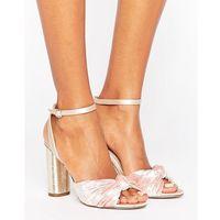 blush velvet heeled sandals - pink, Office