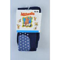 Rajstopy bawełniane abs kolanka - granatowe - rozmiar 80/86 - marki Milusie