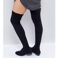 Asos petite Asos kasba petite flat over the knee boots - black
