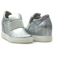 Sneakersy Kiera 648/S-31 CR Srebrne lico, kolor szary
