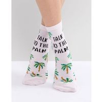 talk to the palm glitter ankle socks - pink, Asos