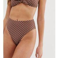 high waisted bikini bottoms in light brown polka dot - multi marki Boohoo