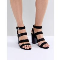 New look multi strap western buckle block heel sandal - black
