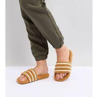 originals adilette furry slider sandals in tan - black marki Adidas