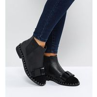 ASOS AUBREY Wide Fit Leather Bow Ankle Boots - Black, kolor czarny