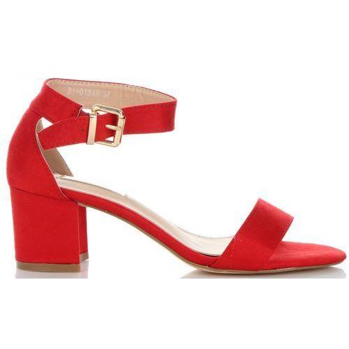 Wygodne i Uniwersalne Sandały Damskie na szerokim obcasie marki Bellucci Czerwone (kolory), kolor czerwony
