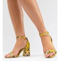 River Island Wide Fit Floral Block Heeled Sandals - Yellow