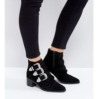 Asos relieve suede buckle ankle boots - black