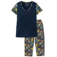 Piżama z krótkim rękawem i spodniami 3/4 bonprix ciemnoniebieski z nadrukiem, kolor niebieski