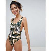 New look scarf leopard print high leg swimsuit - multi
