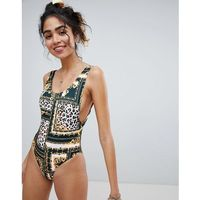 scarf leopard print high leg swimsuit - multi, New look
