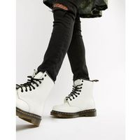 Dr Martens 1460 White Leather Flat Ankle Boots - White, kolor biały